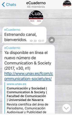 Canal Telegram de eCuaderno